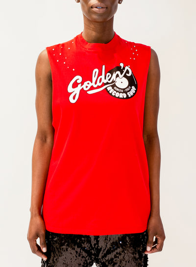 GOLDEN GOOSE | Logo Print Tank Top in Red