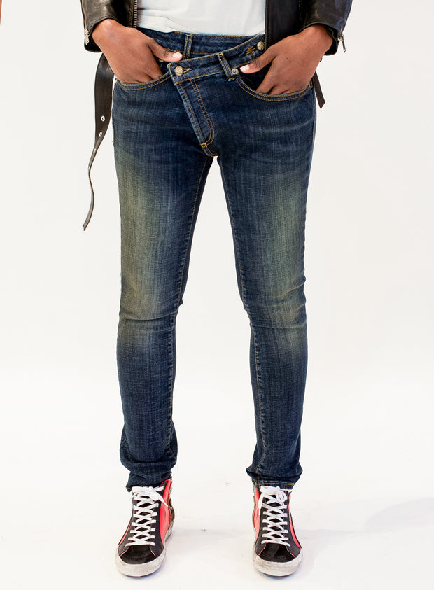 R13 | Cross-Over Skinny Jeans in Vintage Dark