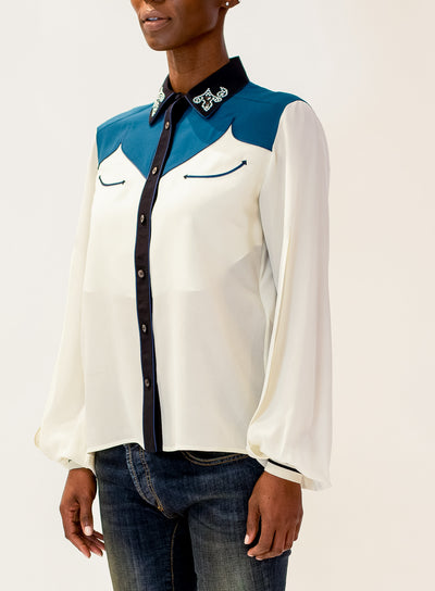 GOLDEN GOOSE | Embellished Collar Western Shirt