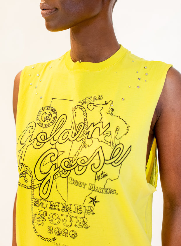 GOLDEN GOOSE DELXUE BRAND | Logo Print Tank Top in Yellow