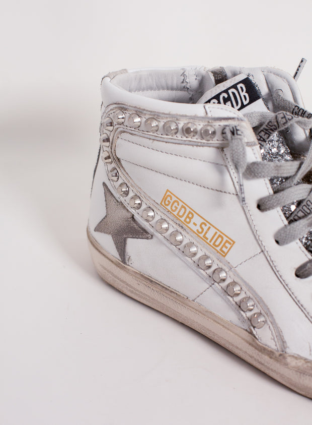 GOLDEN GOOSE | Suede Star Leather Wave with Studs and Glitter Toe