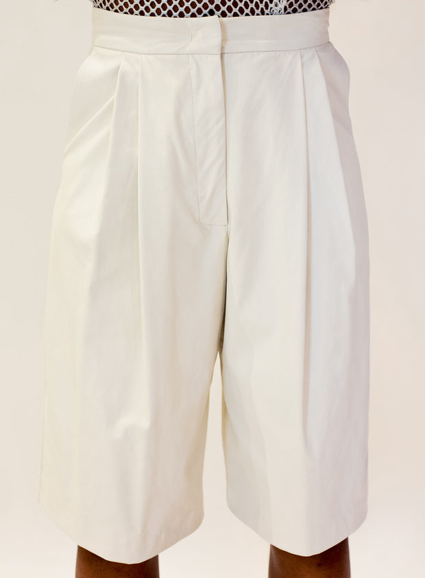 NUDE | Faux Leather Culottes in Ivory