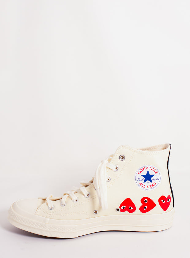COMME DES GARÇONS PLAY | Chuck Taylor Multiheart High-Top Sneaker in White