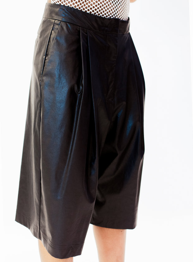 NUDE | Faux Leather Culottes in Black