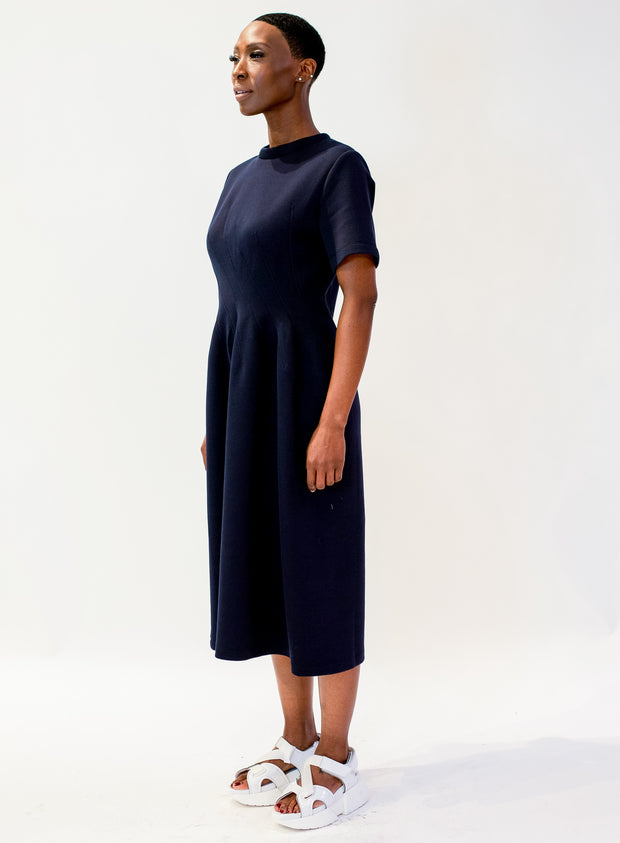 MARNI | Double Face Jersey Flared Dress in Navy