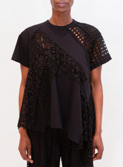 SACAI | Embroidery Lace Pullover in Black
