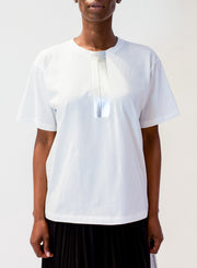 NUDE | Metallic Cotton Jersey T-Shirt in Silver/White