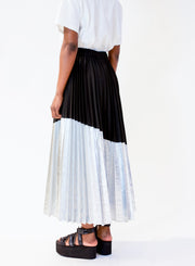 NUDE | Metallic Pleated Skirt in Silver/Black