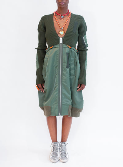 SACAI | Knit X Nylon Twill Dress