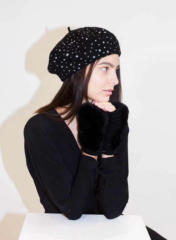 KOKIN | Sparkle Beret in Black with White Crystals