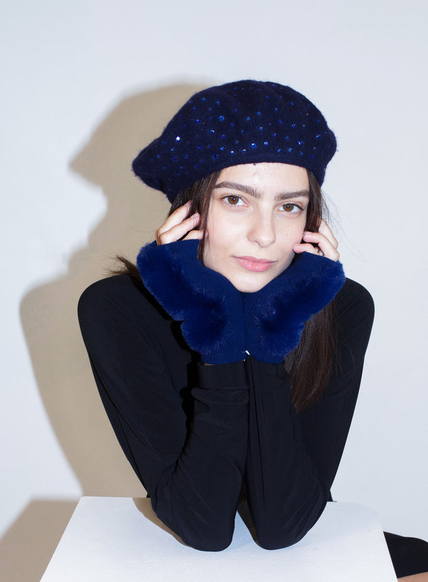 KOKIN | Sparkle Beret in Navy with Sapphire Crystals