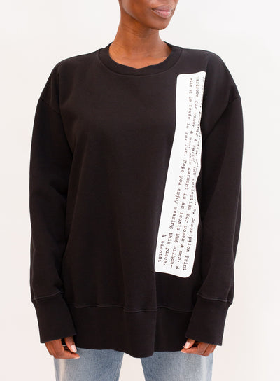 MM6 by MAISON MARGIELA | Crewneck Pullover Sweatshirt in Black