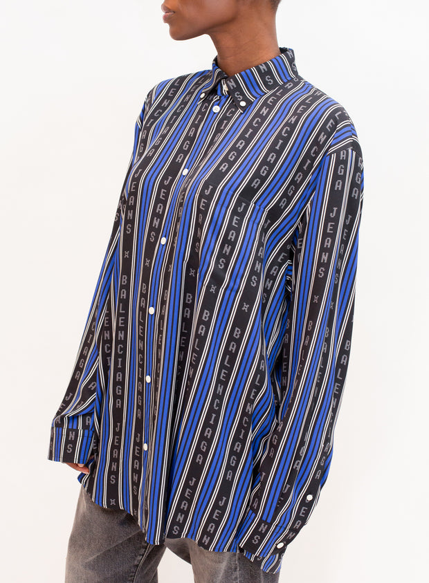 BALENCIAGA | Long Sleeve Large Fit Shirt in Black/Blue