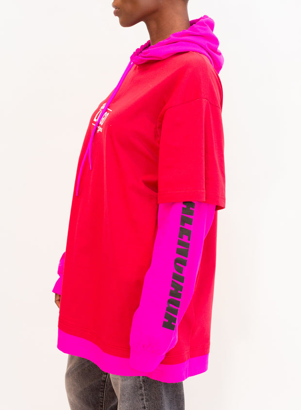BALENCIAGA | Long Sleeve Hooded T-shirt in Rasberry/White