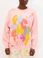 R13 | F This S Oversized Crewneck in Pink