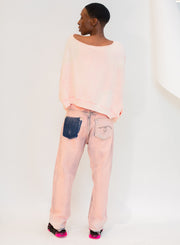 R13 | Crossover Jean in Faded Pink Garment Dyed
