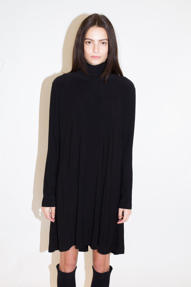 NORMA KAMALI | Turtleneck Swing Dress in Black