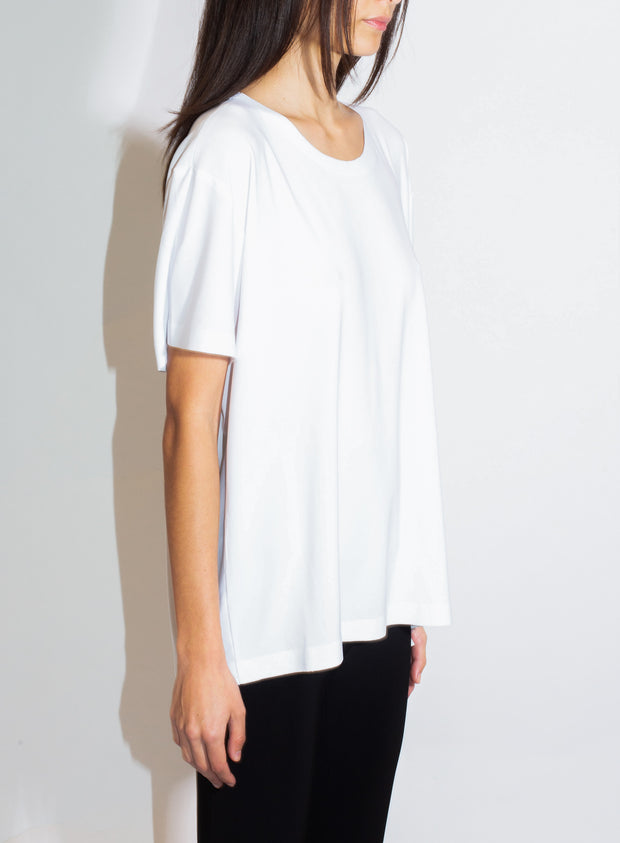 NORMA KAMALI | Short Sleeve Boxy Top in White