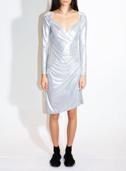 NORMA KAMALI | Sweetheart Side-Drape Dress in Silver