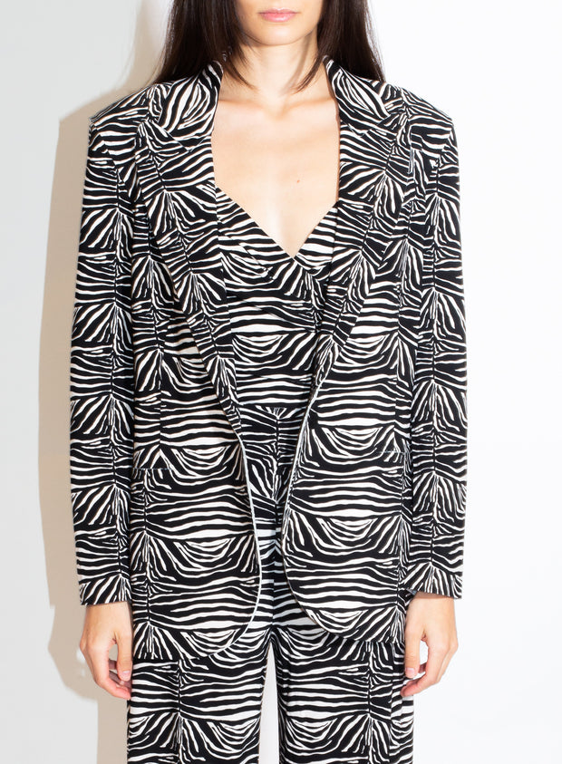 NORMA KAMALI | Single Breasted Blazer in Zebra