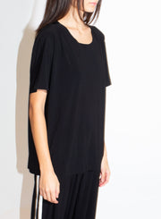 NORMA KAMALI | Short Sleeve Boxy Top in Black