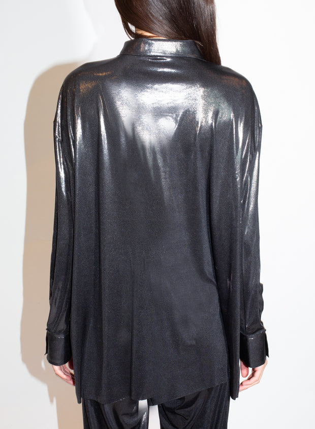 NORMA KAMALI | Oversized Boyfriend Shirt in Dark Silver