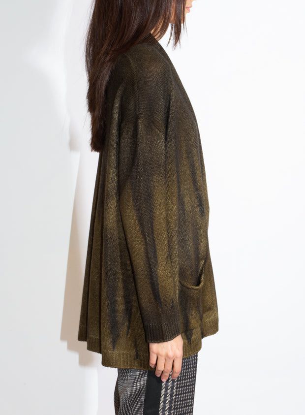 AVANT TOI | Draped Shawl Cardigan with Black Flame Effect