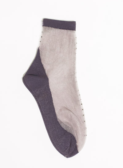 ANTIPAST | Rhinestone Sheer Sock in Charcoal