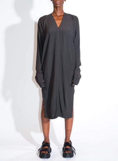 RICK OWENS | Long Sleeve V Dress in Dark Dust