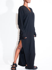 RICK OWENS | Long Sleeved V Gown in Black