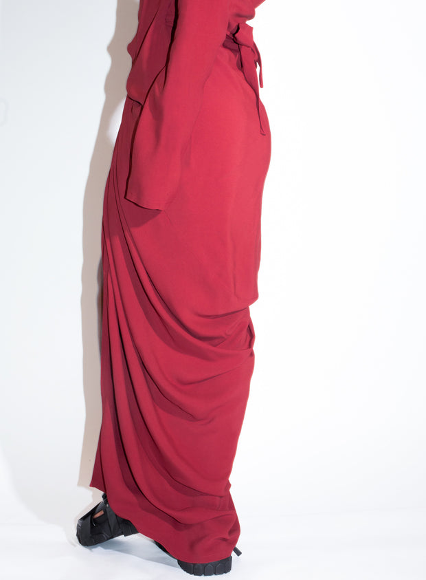 RICK OWENS | Wrap Dress in Cherry