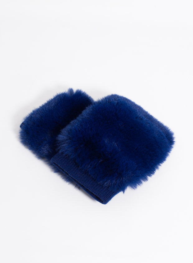 CAROLINA AMATO | Fingerless Faux Fur Glove in Midnight
