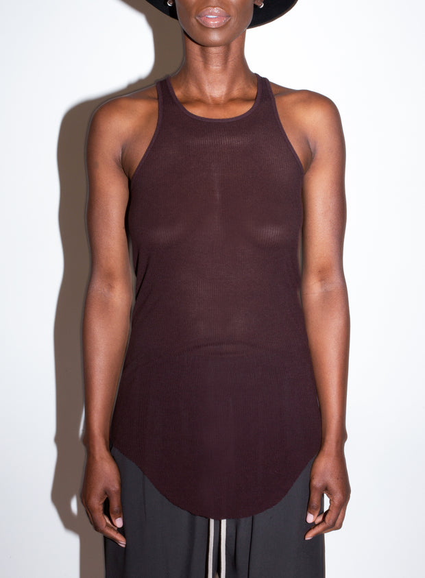 RICK OWENS | Basic Rib Tank in Burgundy