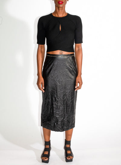 N°21 | Faux Leather Crystal Trimmed Skirt