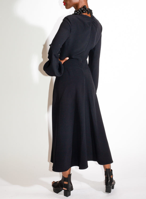 N°21 | Gathered Bell Sleeve Dress in Black