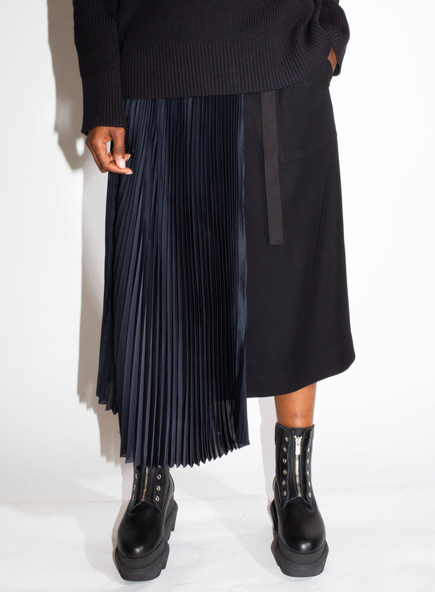 sacai | Denim Skirt with Pleats