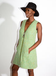 MOSCHINO | Green Tweed Zipper Dress