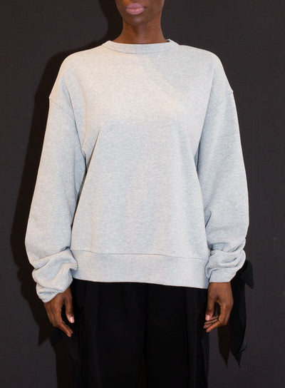 DRIES VAN NOTEN | Ruched Tie-Sleeve Oversized Sweatshirt in Grey