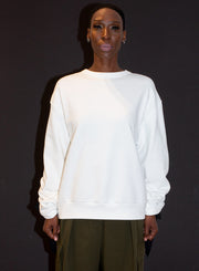 DRIES VAN NOTEN | Ruched Tie-Sleeve Oversized Sweatshirt in White