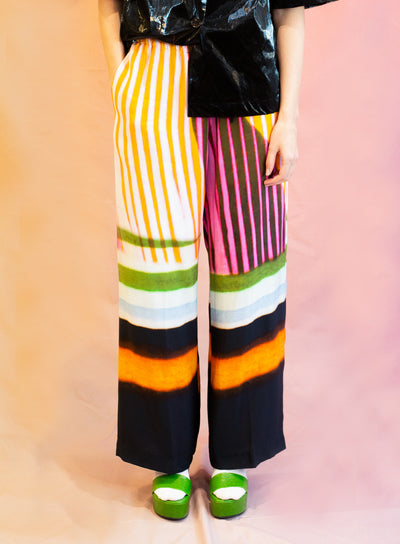 DRIES VAN NOTEN | Puvis Stripe Print Crepe Pant in Black
