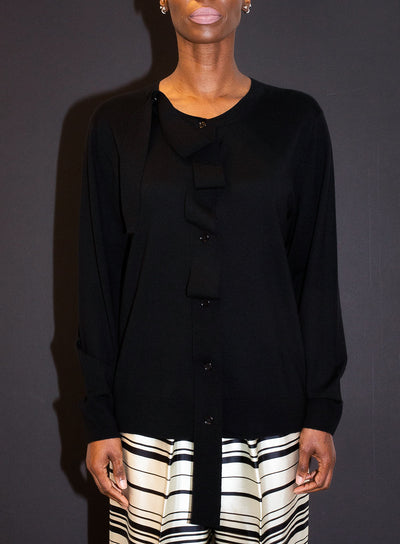 DRIES VAN NOTEN | Ribbon-Detailed Black Cardigan Sweater