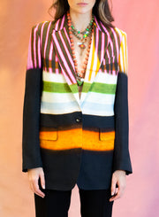 DRIES VAN NOTEN | Blanchet Stripe Print Crepe Blazer in Black