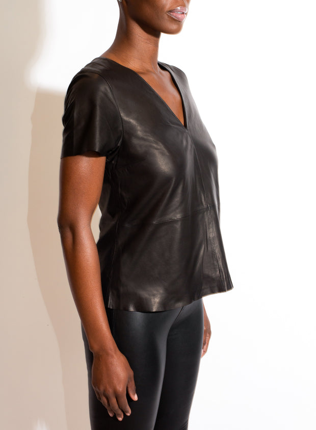 AS by DF | V Neck Leather Tee