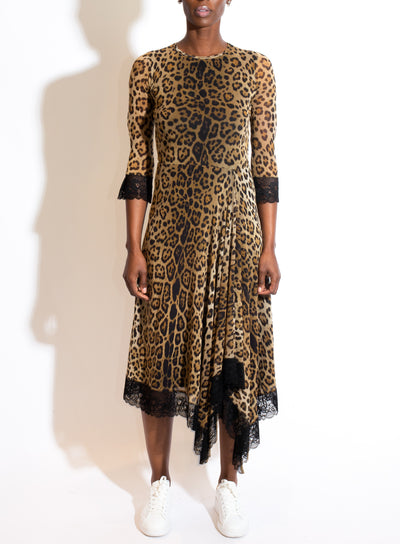 FUZZI | Leopard Print Lace Trim Dress