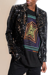 HELENE BERMAN | Sequin Notch Collar Jacket