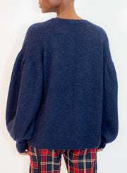 DRIES VAN NOTEN | Puff Sleeve Navy Sweater