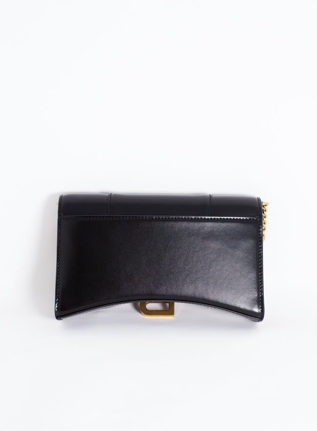 BALENCIAGA | Hourglass Wallet with Chain in Black