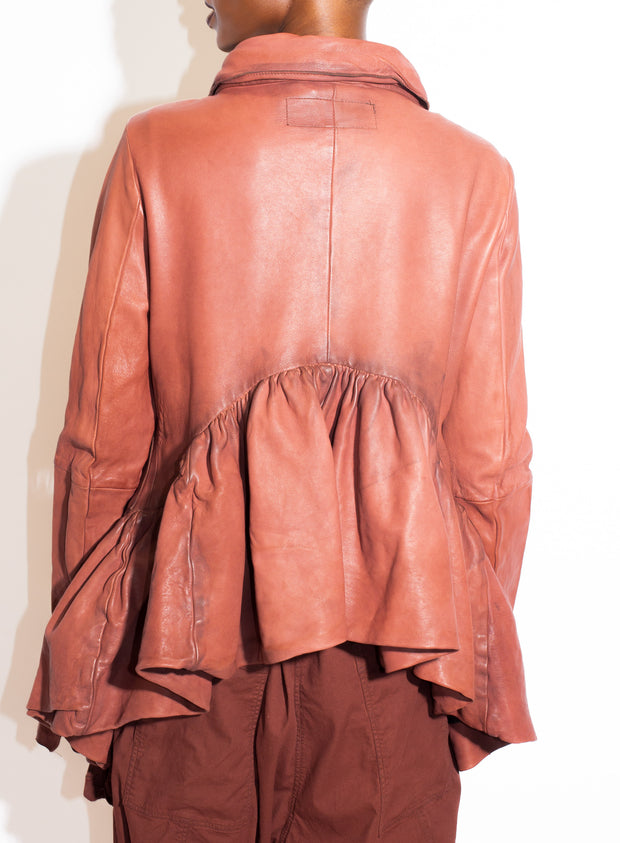 RUNDHOLZ | Leather Jacket with Short Peplum Back