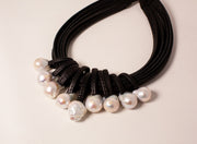 MONIES | Freshwater Pearl & Leather Necklace