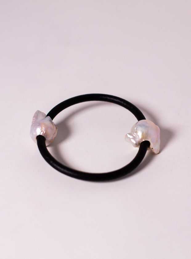 MONIES | Freshwater Pearl and Leather Bracelet